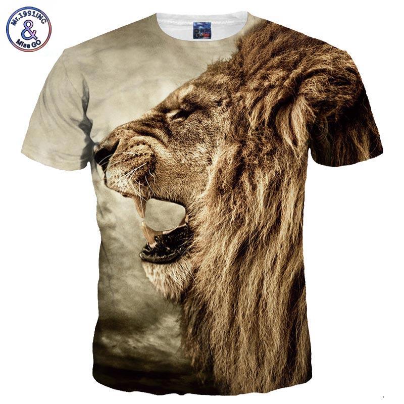 3d T-shirt Print Lion Animal Quick Dry Tshirts Summer