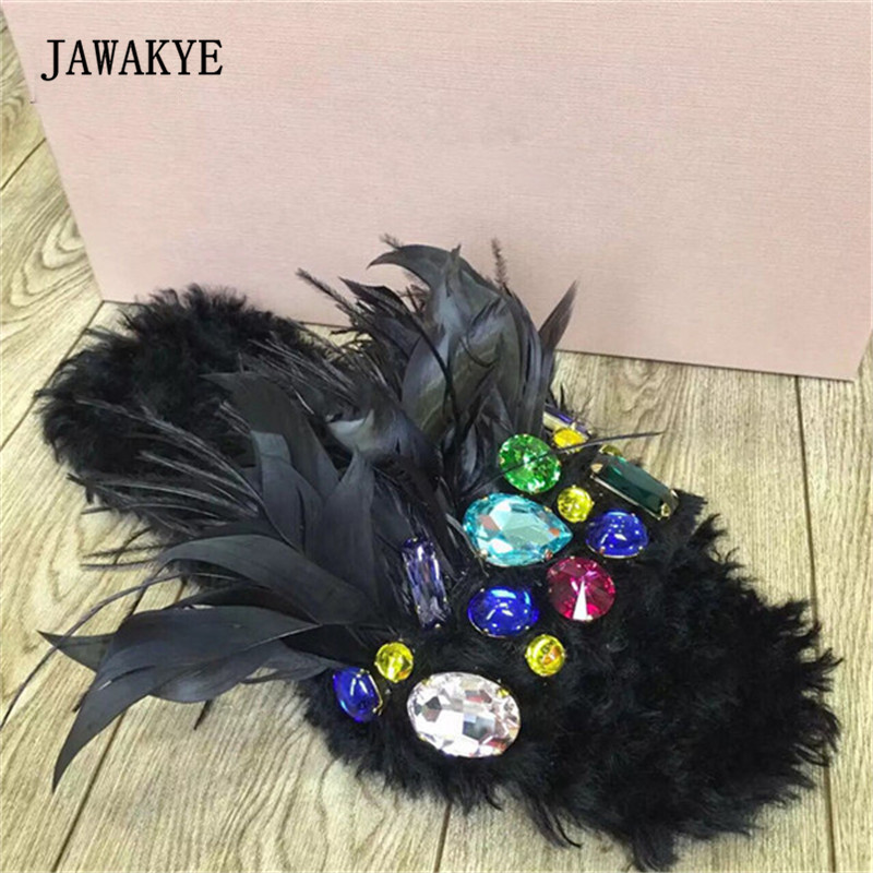 2017 Handmade Real Wool Slipper Woman Open Toe Fur Feather Rhinestone Diamond Flat Slipper Sandals Woman гарнитура qcyber swap black