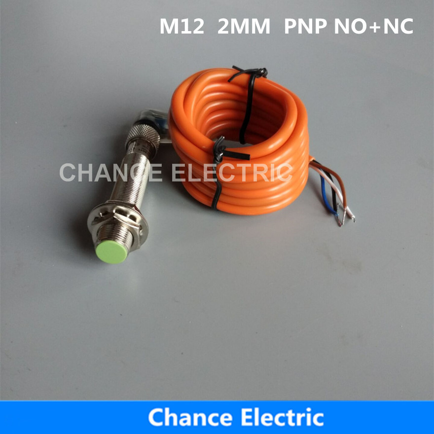 M12 2mm PNP NO+NC inductive proximity sensor switch with bend connector 2mm detect distance flush type  (IM12-2-DPC-C) high quality proximity switch igs204 m18 plug in pnp no inductive
