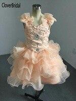 Ослепительно органзы Раффлед салон АВ камни из бисера Orange малышей кекс платье для торжеств с бантом из бисера ремни должны 4 года лет