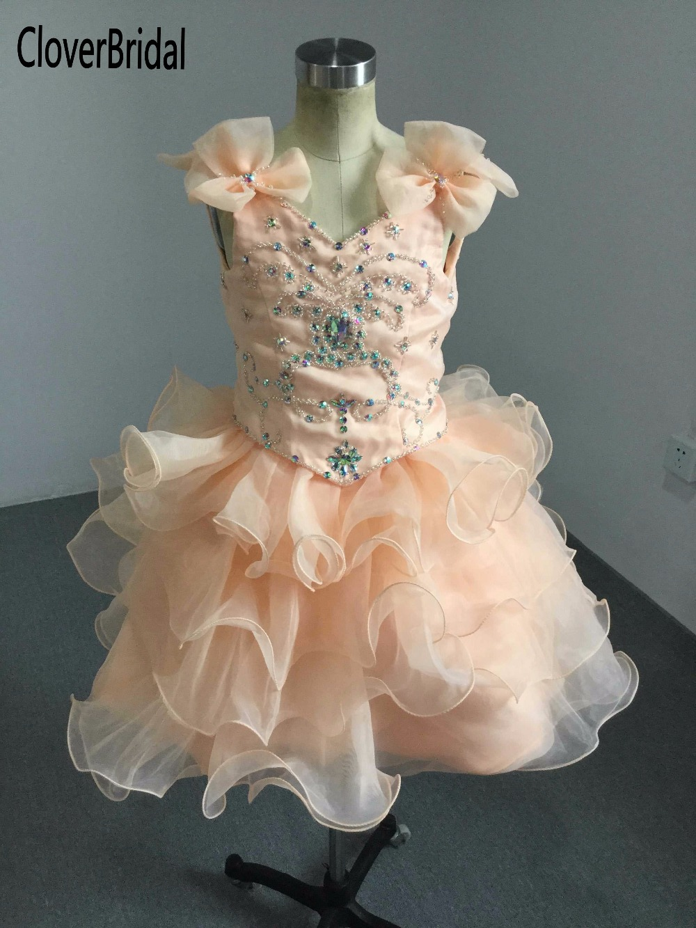 Dazzling organza ruffled beauty AB stones beaded orange toddler cupcake pageant dress with bow beaded should straps 4 years old