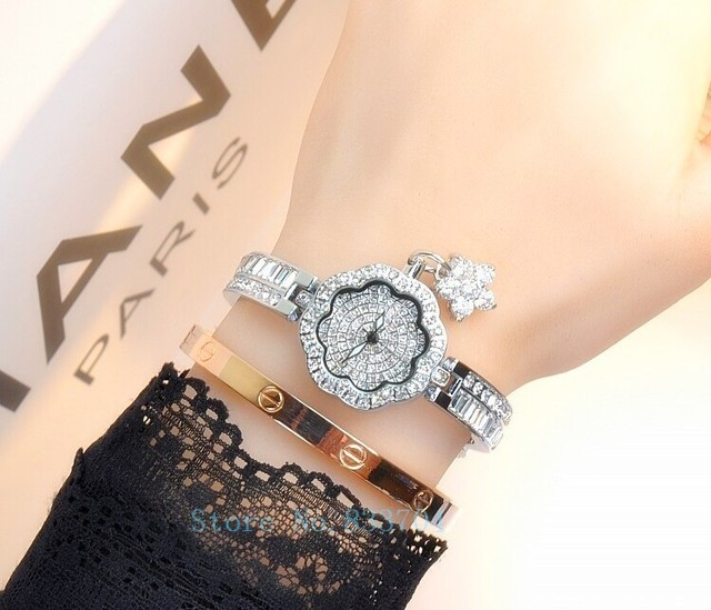 Mashali נשי שעון קוורץ גבירותיי נשים שעון צמיד יהלומי יוקרה יד יהלומים מלאכותיים שמלת עם פרח תליון משלוח חינם
