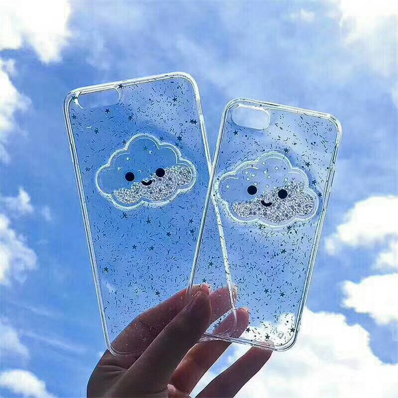 Cute Glitter Powder Smile Face Clouds Mobile Phone Case For iPhone X Soft TPU Dynamic Beads Back Cover For iphone 6 6s 7 8 Plus Case (9)