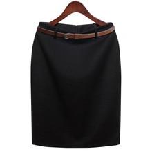 S-3XL Plus Size Winter Autumn OL Pencil Skirt Fashion Women's Formal Wear to work Medium-long High Waist Skirt with Belt