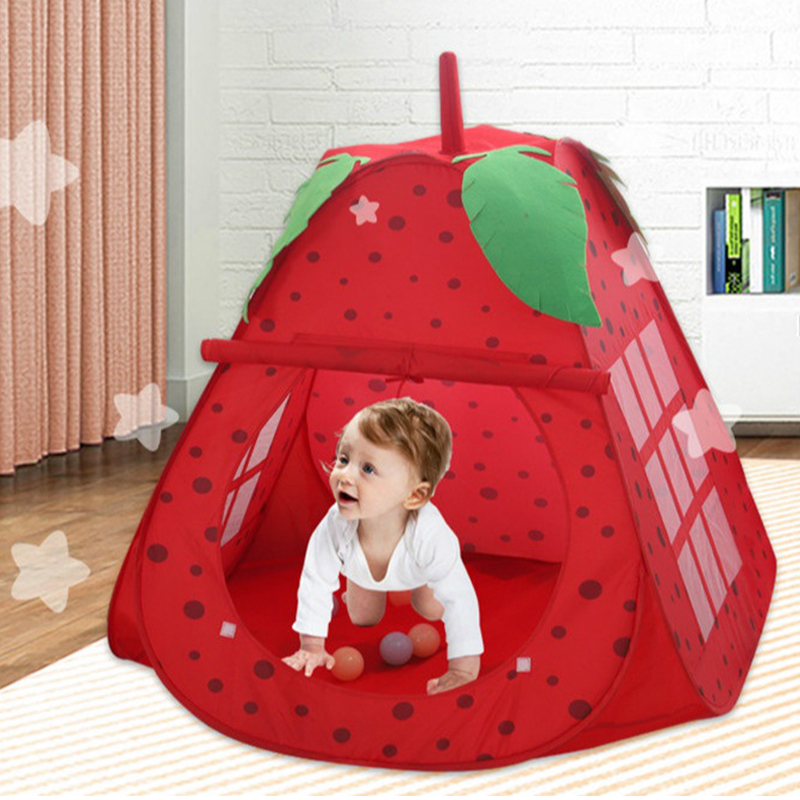 Strawberry Shape Game House Play Tent Ball Pit Pool Indoor Outdoor Toys Girls Princess Portable Foldable Playhouse Toy For Kids