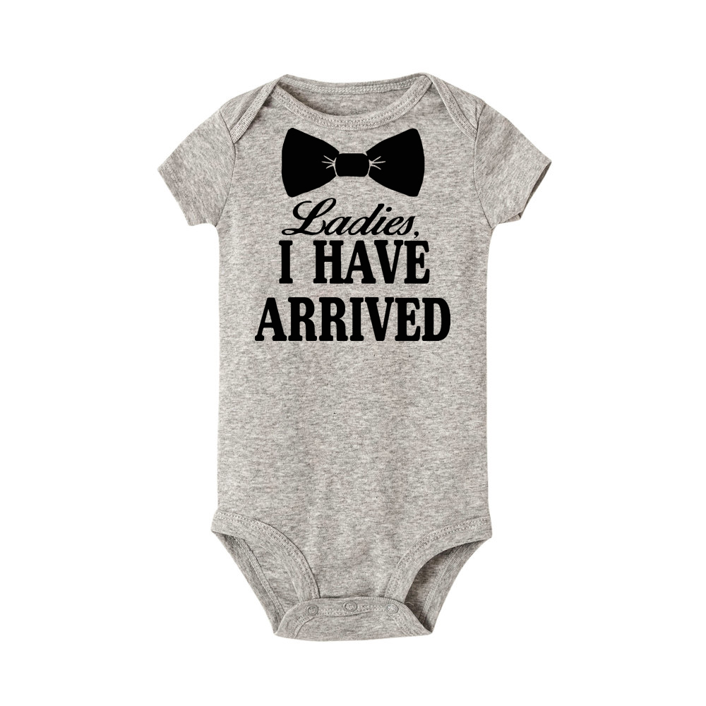 Laddies I Have Arrived Print Newborn Baby Rompers Boys Girls Color Short Sleeves One-piece Clothing Baby Clothes Jumpsuit