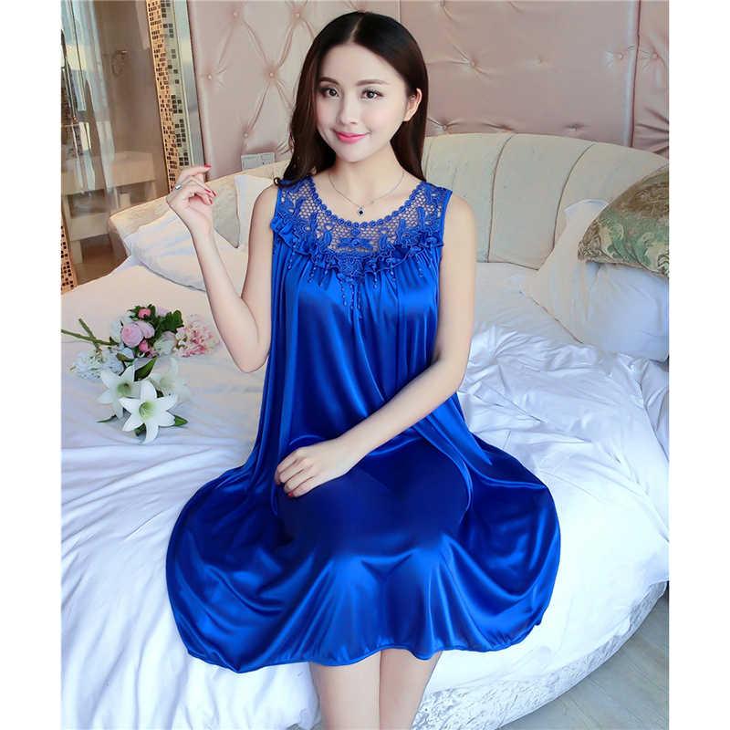 f6441b3f5d ... Women's Summer Short-sleeved Loose Puls Size Ice Silk Nightdress  Sleeveless Real Silk Sexy Sling ...