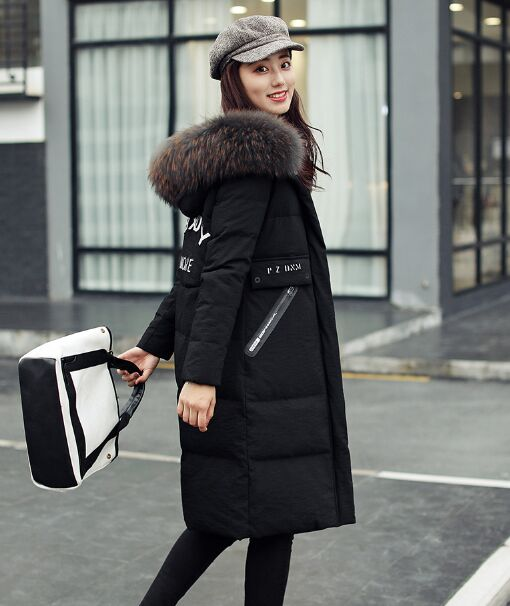 2017 New Korean Large Jacket Long Black Real Fur Collar Long Thick Winter Wide-waisted Thick Casual Solid Women Winter Coats