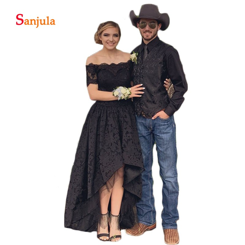 Short Sleeve Black Prom Gowns High Low Lace Prom Dresses Boat Neck Girls Homecoming Gowns 2019 Simple Night Party Wear D640