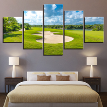 Canvas Paintings Living Room Wall Art Framework 5 Pieces Golf Course Posters HD Prints Blue Sky Green Lawn Pictures Home Decor