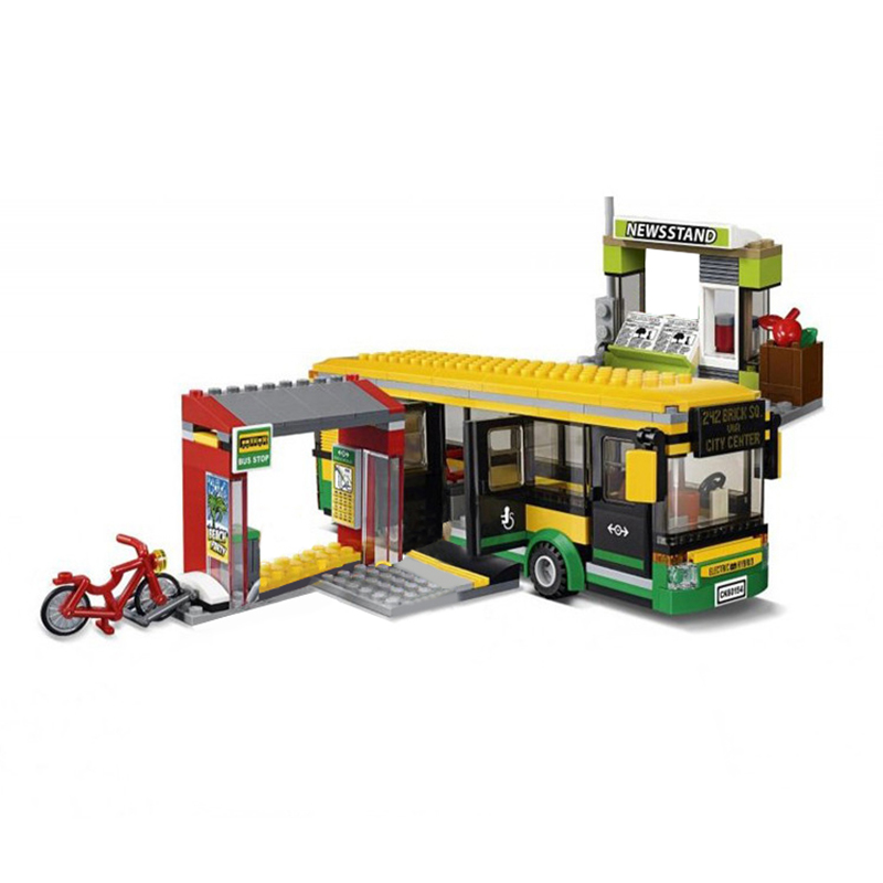 Lepin 02078 City Series The Bus Station Set 60154 Building Blocks Bricks Educational Toys For Christmas Gift Legoingse 377Pcs 6727 city street police station car truck building blocks bricks educational toys for children gift christmas legoings 511pcs