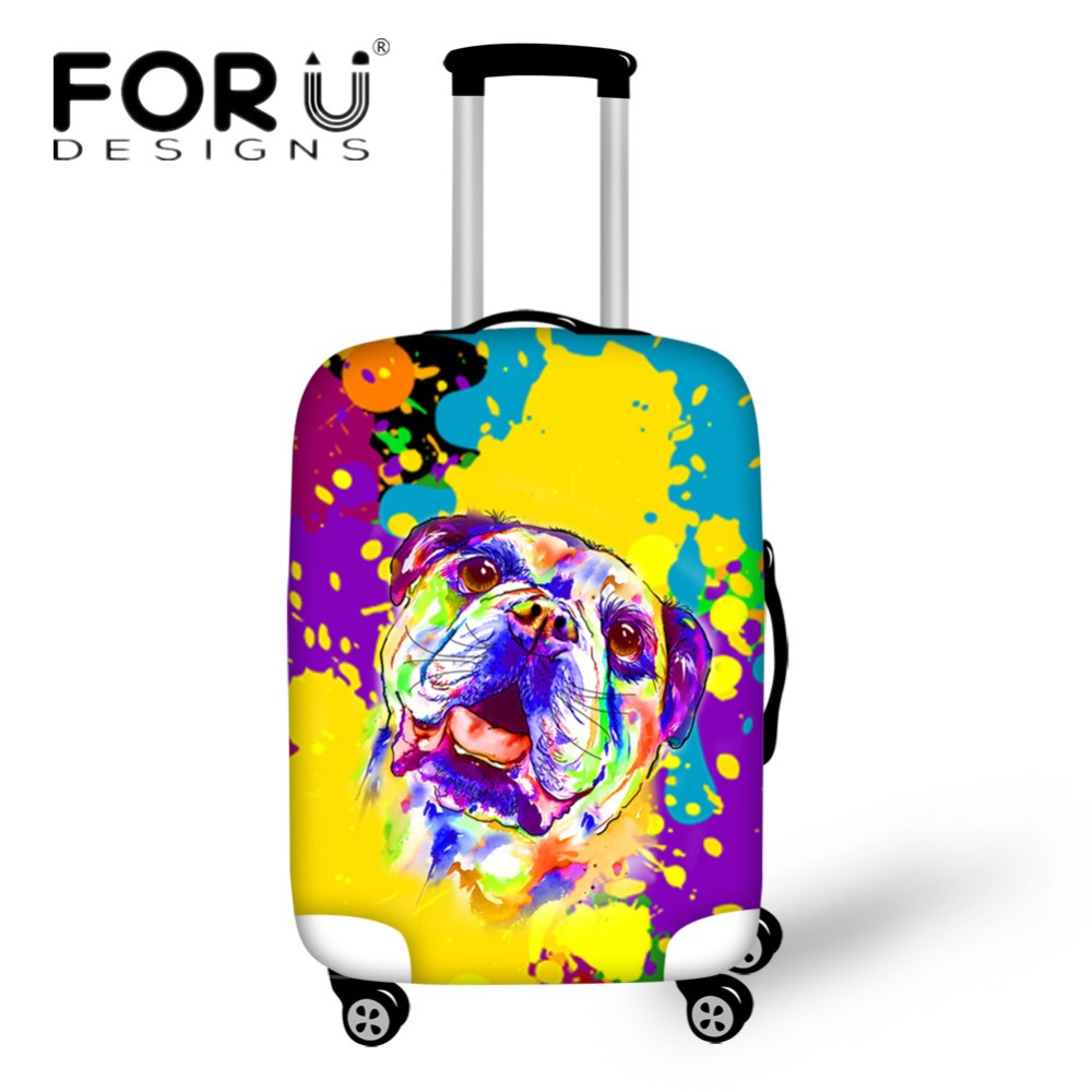 FORUDESIGNS Colorful 3D French Bulldog Frenchie Travel Luggage Protective Cover Travel Suitcase Cover for 18-30inch Trolley Case ...