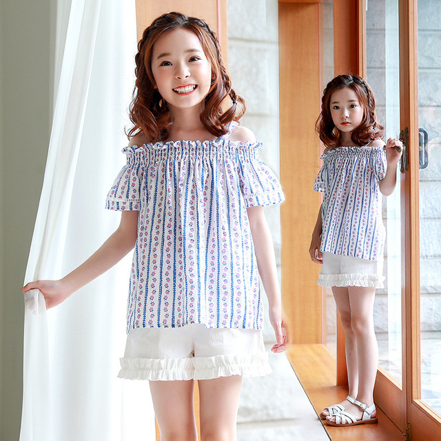 77b38dec9a13 new summer 2018 cotton off shoulder baby blouses for big girls striped  printed children school shirt for kids tops clothing