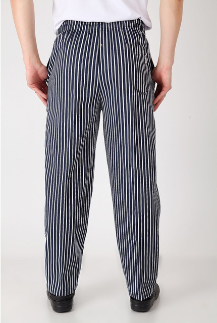 fc13f91738 US $16.56 10% OFF|High quanlity chef service cook uniform chef de executive  chef pant black white striped elastic Red Peppers restaurant uniform-in ...