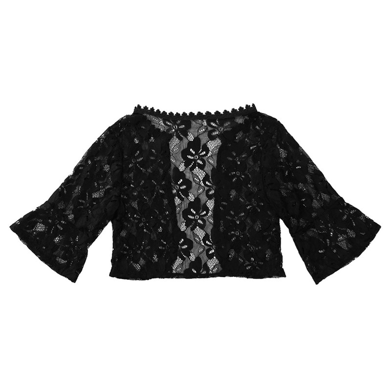 Floral Lace Wrap Half Bell Sleeve Black White Bridal Wraps Jacket Bolero 6