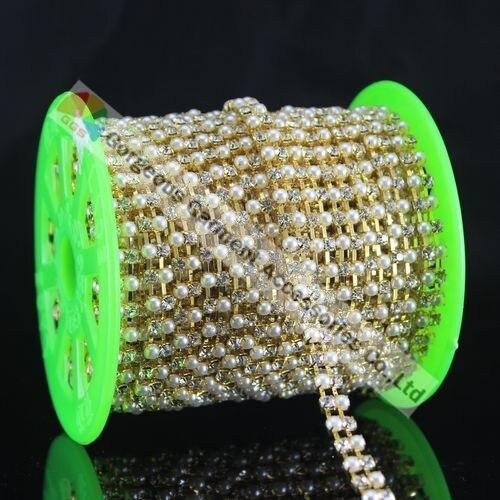 6 м жемчужные и прозрачные Сменные чешские хрустальные стразы цепочка с 2 рядами SS16 4 мм камни Золотое серебро основа для DIY аксессуары