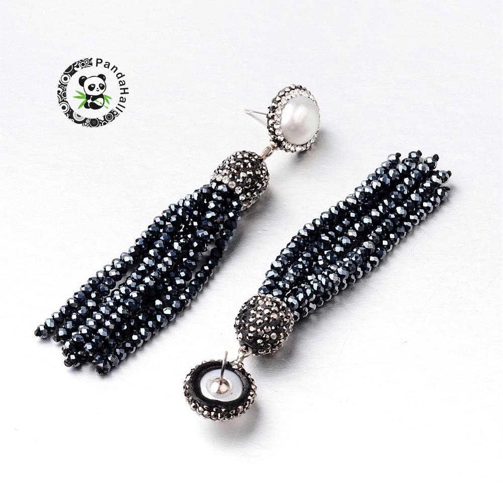 8eaad14ba Glass Tassel Earrings, with Pearl, Polymer Clay Rhinestone and Steel Pin,  Black, 82~90mm; Pin: 0.7mm-in Stud Earrings from Jewelry & Accessories on  ...