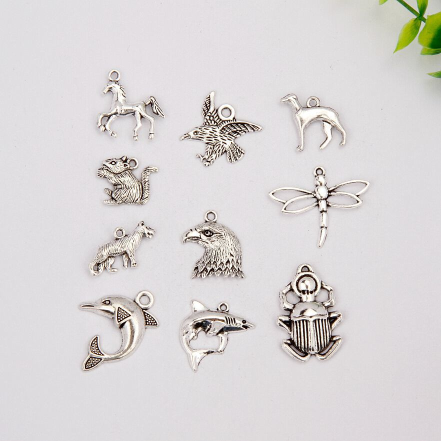 100 pcs Hot Sell Fashion Antique Silver Dolphin&Horse&Squirrel&Scarab&Greyhound Mix Charm Pendant Jewelry DIY Holiday Gifts A893
