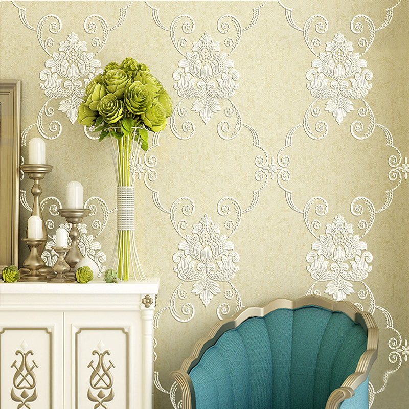 Pastoral Non-woven Damask Wallpaper Roll Papel Pintado Bedroom Living Room TV Background Wallpaper Flower Papel De Parede 3D