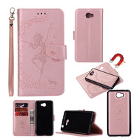 2 In 1 Removable Wallet Leather Case For Huawei Y5 II Y5 2 Fundas Embossed Butterfly