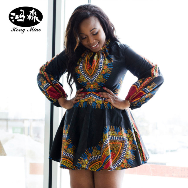08335243c78c HongMiao 2017 Summer Plus Size African Print Dresses for Women Traditional  Dashiki Dress Long Sleeve Designs Sexy Ladies Dress