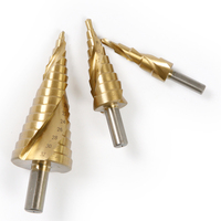 High Quality 3Pcs Set 4 12mm 4 20mm 4 32mm Spiral Groove Stepped Drill HSS Triangle