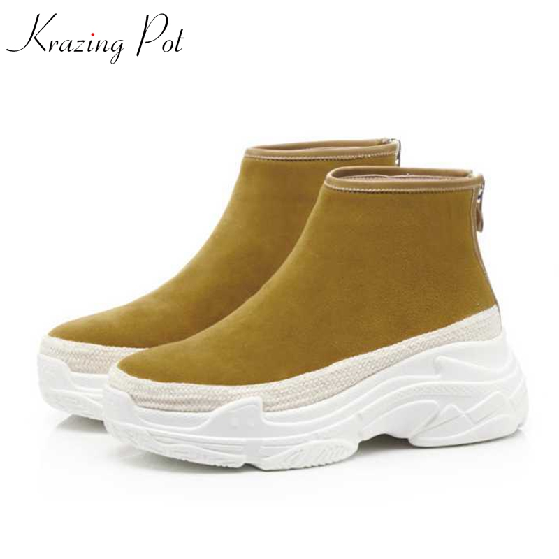 Krazing Pot sheep suede round toe thick bottom western flat platform zipper decoration yellow handsome girl rock ankle boots L01 nbw0he6767 men s stainless steel skeleton mechanical self winding analog wrist watch grey white