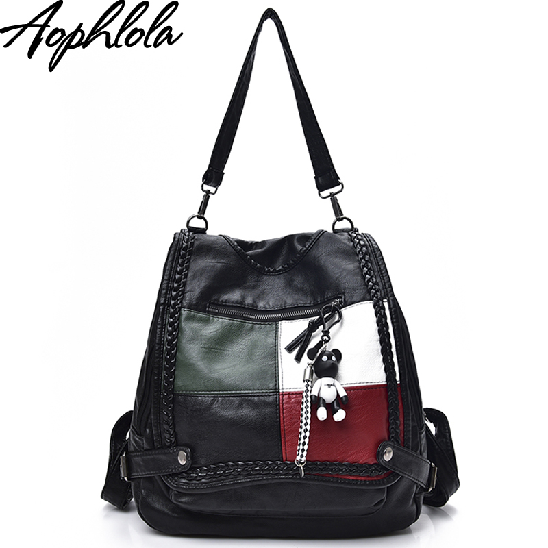 Fashion New Women Patchwork Leather Backpacks Soft Pu Backpack Preppy Women's Crossbody Bags Female Casual Travel Bag Sac A Dos
