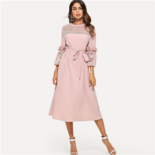 Pink Lace Hollowed Out Midi...