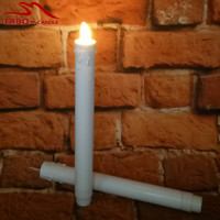 2Pcs Indoor & Outdoor Moving Wicks Flameless LED Taper Candle ABS Plastic Material 9 Inches Height Faked Taper Candle