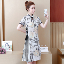 Spring and autumn new style Chinese style elegant vintage dress Cheongsam dress Large size L-5XL women's dress