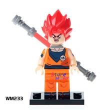 1PCS model building blocks action superheroes Dragon Ball Z Goku With Red Hair Dolls diy toys for children gift(China)