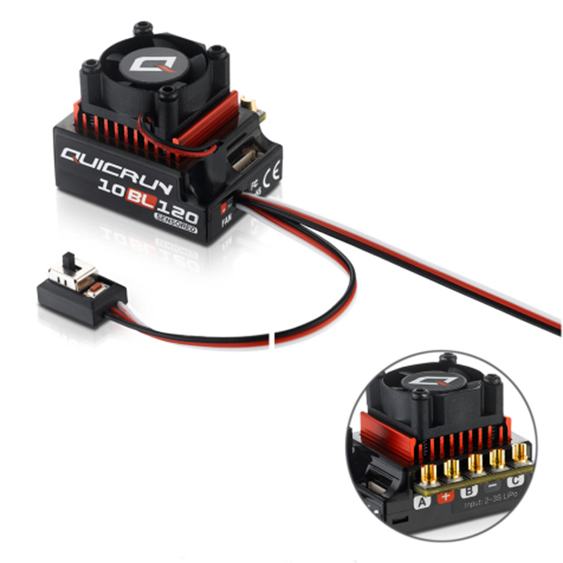 D'origine Hobbwing QUICRUN 10BL120 Sensored 120A/10BL60 Sensored Brushless Speed Controller ESC Pour 1/10 1/12 RC Mini Voiture