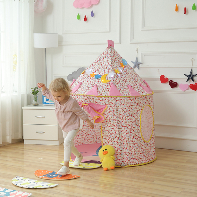 Blue/Pink Prince Foldable Kids Tent House aby tent Tipi Camping Toy Tent Indoor and Outdoor Kids Play Teepees for Children