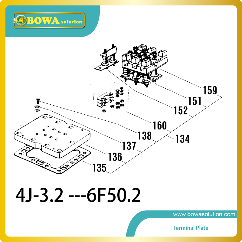 B6 Terminal plate compatible with Bitzer 4G13.2 to 6F50.2 semi-hermetic refrieration compressor