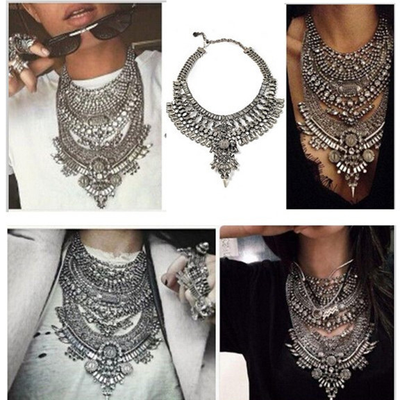 2018 Women Necklaces & Pendants Vintage Crystal Maxi Choker Statement Collier Femme Boho Big Fashion Jewellery Wholesale
