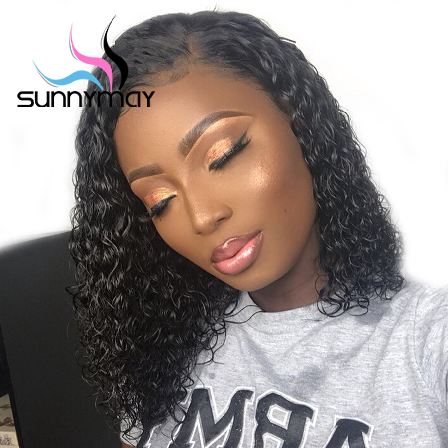 Sunnymay Curly Human Hair Wigs 13x4 Lace Front Human Hair Wigs Pre Plucked With Baby Hair