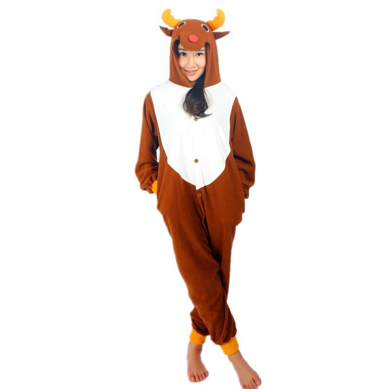 Rusa Krismas Onesie Kostum Fleece Jumpsuit Untuk - Kostum karnival - Foto 2