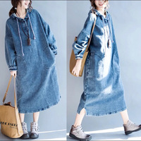 Denim dress 2018 autumn and winter new Korean leisure long sleeved long cap loose large size women's dress Cotton casual dress