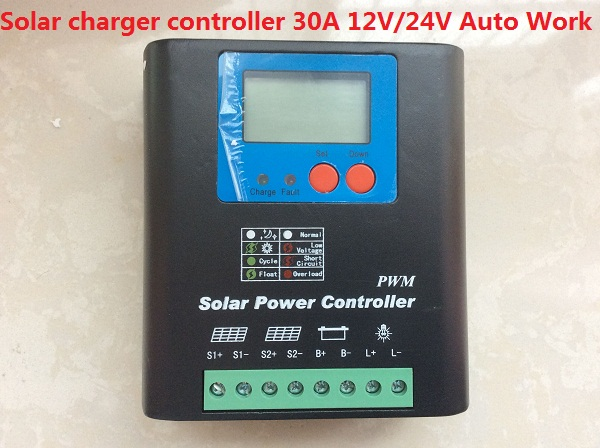 free shipping PWM 30A 12V/24V Automatic identification Solar charger controller for solar system new style metal housing automatic identification power display 12v 24v 30a 20a solar charge controller