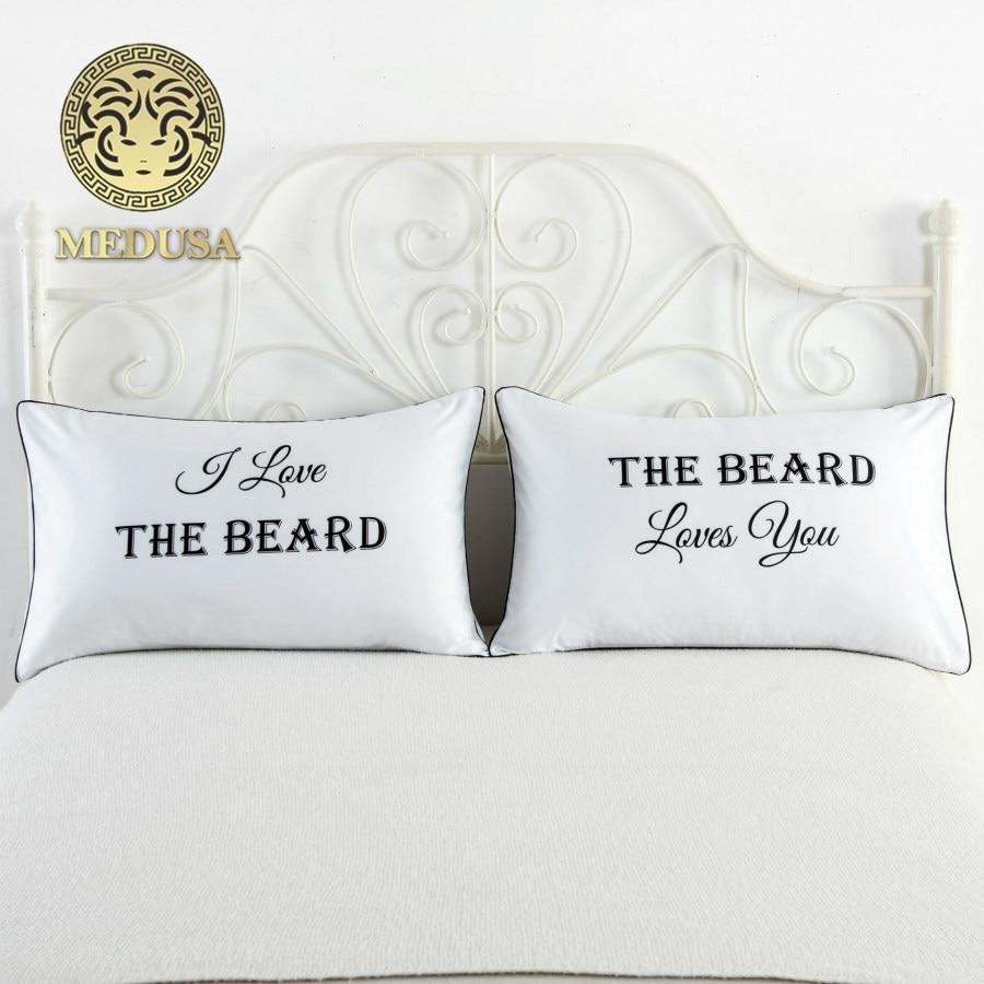 Борода love you годовщина свадьбы наволочки, подарок для любителей, пары подарок, подарок для лучших друзей