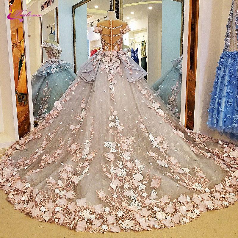 Waulizane Shiny Floral Print O-Neck Ball Gown Wedding Dress Whole all Appliques 3D Flower Elegant Princess Bridal Gowns Hot Sale