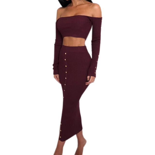 c16574b7302b8 crop top outfits pencil skirt Source · New Fashion Buttons Winter Skinny  Sexy Knitted Bodycon Two Piece Set