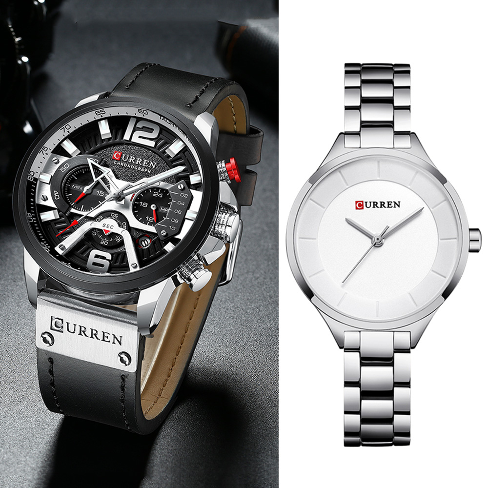 Curren Watches Men Luxury Brand Chronograph Waterproof Men's Wristwatch Clock Women Watches Stainless Steel Relogio Feminino