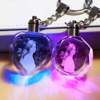 Personalized Custom Photo Key Chain frame Crystal Miniature Photo Key Ring LED Light Decoration Photo Frame Party Favors Gift