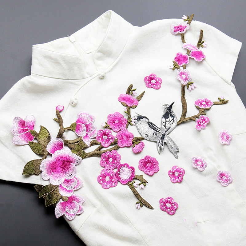 Newquality embroidered around 41*18cm bird&flower patches for clothes such a jack, sewing patches for clothing