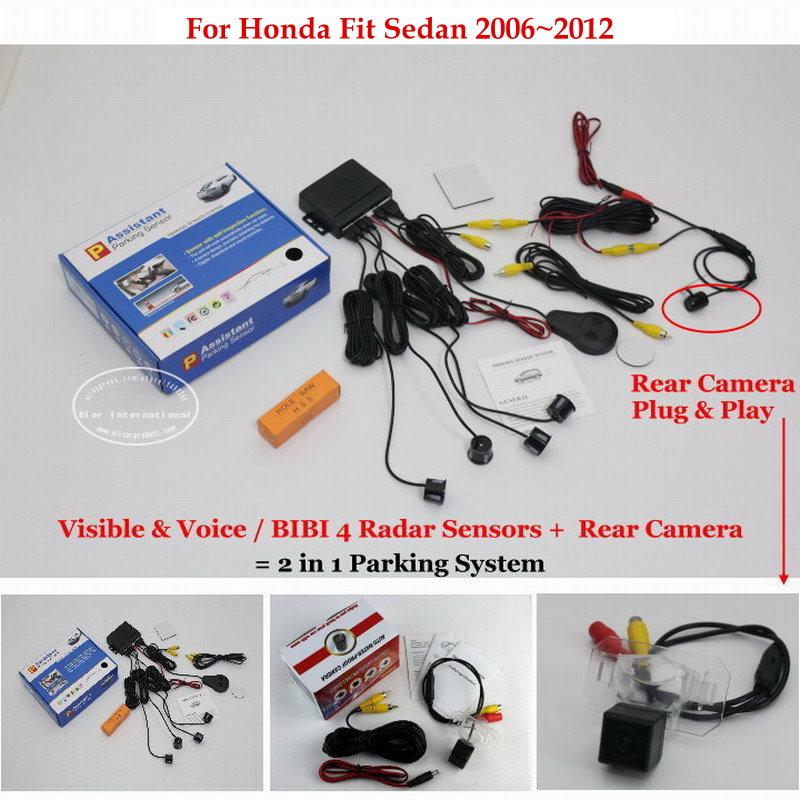 ФОТО For Honda Fit Sedan 2006~2012 - Car Parking Sensors + Rear View Back Up Camera = 2 in 1 Visual / BIBI Alarm Parking System
