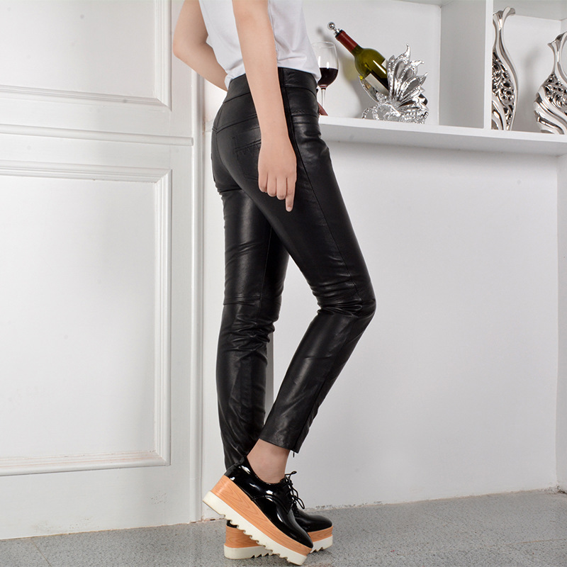 Coréenne Taille La Black 2019 Elastique Longueur Femmes En Cuir De Maigre Moulant Toute Pantalon Mouton Street Mode Peau Femme Mi High xx8wqaBS