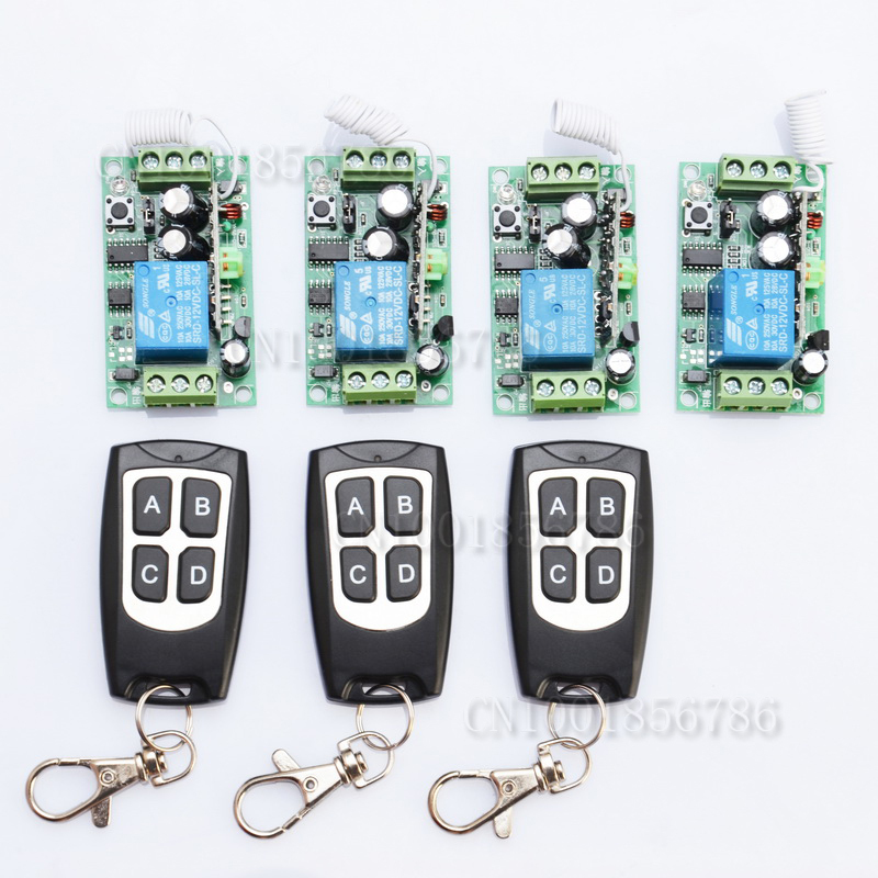 Free shipping12V 1ch Learning Code Wireless Remote Control Switch System 4 Receiver and 3 Transmitter for entrance guard  free shipping 12v 1ch learning code wireless remote control switch system 1 receiver and 1 transmitter for entrance guard door