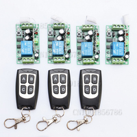 Free shipping12V 1ch Learning Code Wireless Remote Control Switch System 4 Receiver and 3 Transmitter for entrance guard